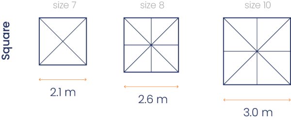 Square Canopy Sizes