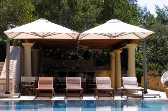 Cantilever Umbrella by Pool